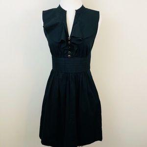 Shoshanna Black Button Ruffle Front  Dress